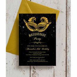 Masquerade Themed Milestone Birthday Party Invitation