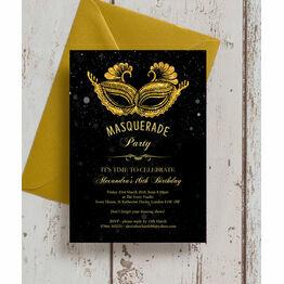 Masquerade Themed Milestone Birthday Party Invitation