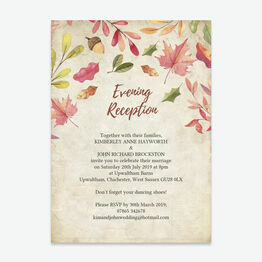 Autumn Leaves Evening Reception Invitation