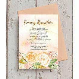 Gold Floral Evening Reception Invitation