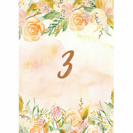 Gold Floral Table Number
