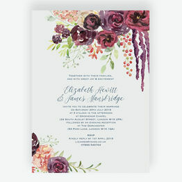 Burgundy Watercolour Floral Wedding Invitation