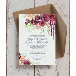 Burgundy Watercolour Floral Wedding Invitation