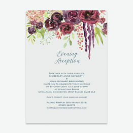 Burgundy Watercolour Floral Evening Reception Invitation