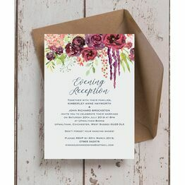 Burgundy Watercolour Floral Evening Reception Invitation