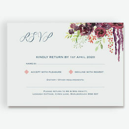 Burgundy Watercolour Floral RSVP