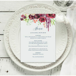 Burgundy Watercolour Floral Menu