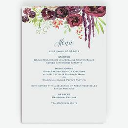 Burgundy Watercolour Floral Menu