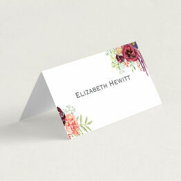 Burgundy Watercolour Floral Folded Wedding Place Cards