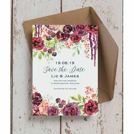 Burgundy Watercolour Floral Save the Date