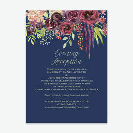 Navy & Burgundy Floral Evening Reception Invitation