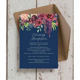 Navy & Burgundy Floral Evening Reception Invitation