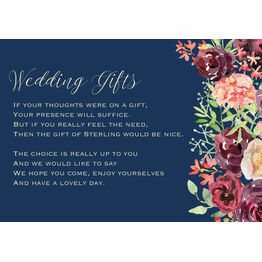 Navy & Burgundy Floral Gift Wish Card