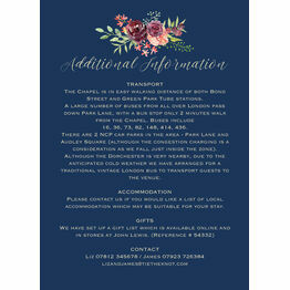 Navy & Burgundy Floral Guest Information Card