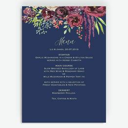 Navy & Burgundy Floral Menu