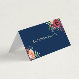 Navy & Burgundy Floral Folded Wedding Place Cards
