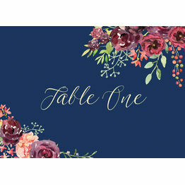Navy & Burgundy Floral Table Name
