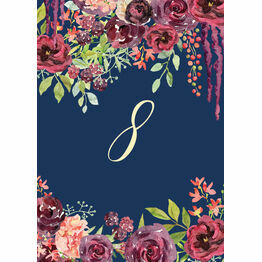 Navy & Burgundy Floral Table Number
