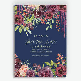 Navy & Burgundy Floral Save the Date