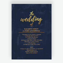 Navy & Gold Wedding Invitation