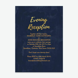 Navy & Gold Evening Reception Invitation