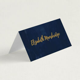 Navy & Gold Folded Wedding Place Cards