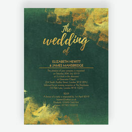 Emerald & Gold Wedding Invitation