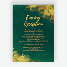 Emerald & Gold Evening Reception Invitation