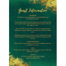 Emerald & Gold Guest Information Card