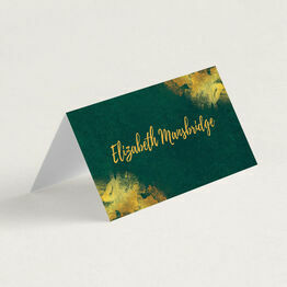Emerald & Gold Folded Wedding Place Cards