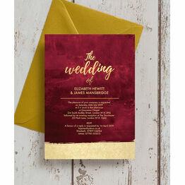 Burgundy & Gold Wedding Invitation