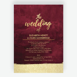 Burgundy & Gold Wedding Invitation