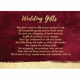 Burgundy & Gold Gift Wish Card