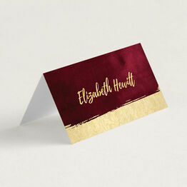 Burgundy & Gold Folded Wedding Place Cards