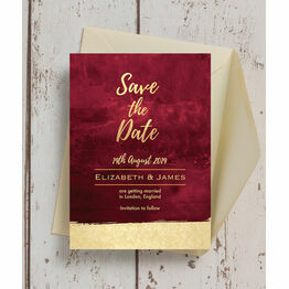 Burgundy & Gold Save the Date