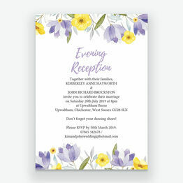 Lilac & Lemon Evening Reception Invitation