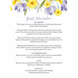 Lilac & Lemon Guest Information Card