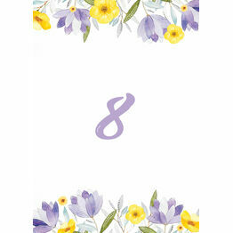 Lilac & Lemon Table Number