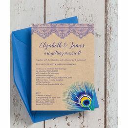 Rustic Peacock Wedding Invitation