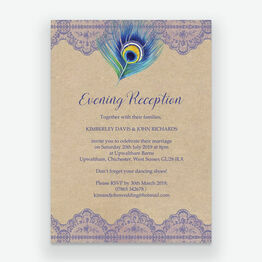 Rustic Peacock Evening Reception Invitation