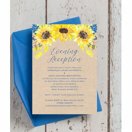 Rustic Sunflower Evening Reception Invitation