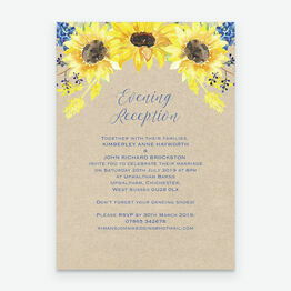 Rustic Sunflower Evening Reception Invitation