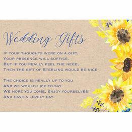 Rustic Sunflower Gift Wish Card