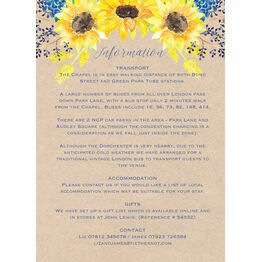 Rustic Sunflower Guest Information Card