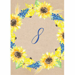 Rustic Sunflower Table Number