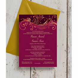 Burgundy & Rose Gold Indian / Asian Wedding Invitation