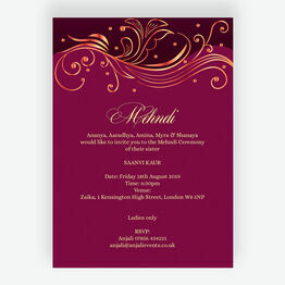 Burgundy & Rose Gold Mehndi / Baraat Card