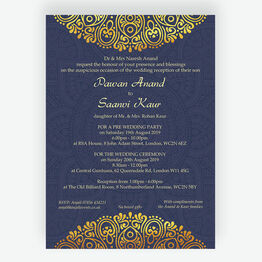 Navy Blue & Gold Indian / Asian Wedding Invitation