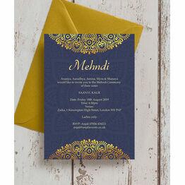 Navy Blue & Gold Mehndi / Baraat Card