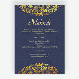 Navy Blue & Gold Mehndi / Baraat Card